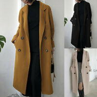 Womens Overcoat Trench Double-breasted Woolen Coat Ladies Winter Long Jacket UK