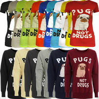 Womens Ladies Pugs Not Drugs Print Sweatshirt Pullover Jumper Top Sweater 8-14