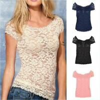 Candy Color Summer Women Short Sleeve Casual Full Lace Floral T-Shirt Blouse Top