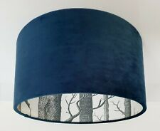 Velvet Covered Woods Wallpaper Lined Lampshade, Choice of Colour