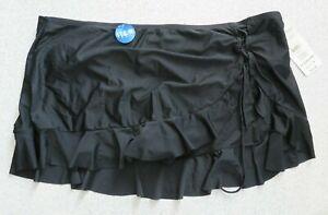Catalina Black Swim Skirt Bottom Lace Up Slit Ruffled Sz 3X(22w-24w) #554