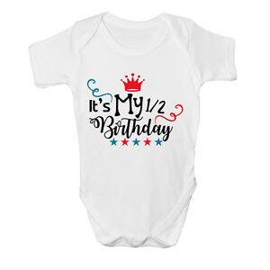 It's My 1/2 Half Birthday Boys Cute Baby Grow Body Suit Vest Size Cute Star NEW