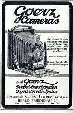 Opt. Anstalt C. P. Goerz Berlin- Friedenau Goerz Cameras Histor. Annonce 1910