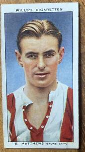 1935 Stanley Matthews Association Football Wills Cigarette Card Stoke City Ex.