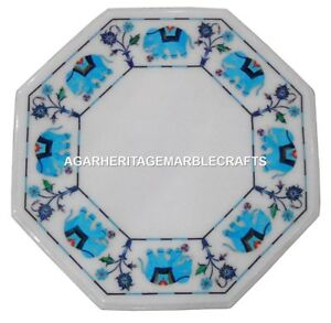 White Marble Coffee Table Turquoise Elephant Inlaid Arts Marquetry Decor H1397