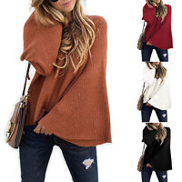 Women Long Bell Sleeve Sweater Tops Pullover Jumper Loose Solid Casual Blouse