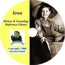 IOWA - History & Genealogy - 120 old Books on DVD - Ancestors, County, CD, IA