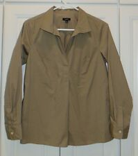TALBOTS Long Sleeve Olive Green Pullover Cotton/Spandex Blouse/Top  Size 6