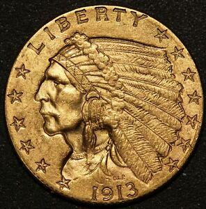1913 U.S. Indian Head $2.50 Quarter Eagle Gold Coin - NICE QUALITY