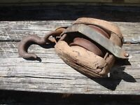 Primitive Farmhouse Decor Vintage Wood Barn Pulley Double Weathered Aged Antique