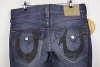 Mens TRUE RELIGION Jeans SECTION STRAIGHT Zip Distressed W34 L36 DAMAGED Hem P77