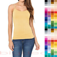 Solid Color Short Cami Tank Top Plain Basic Stretch Layering Tee Shirt Tunic ST6