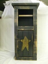 "Primitive Toilet Paper Holder Cabinet Black 24"" tall Wood"