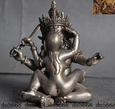 """5""""Tantra Buddhism Temple Tibet Silver hevajra Happy Buddha Yab-Yum Buddha Statue"""
