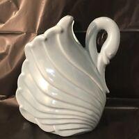 Vintage ceramic blue swan planter