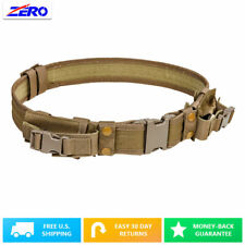 """Tactical Belt Two Pouches 2.25"""" Tan 32"""" to 49"""" Pistol Mag Duty Police SWAT"""