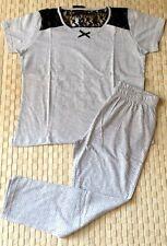 Ensemble pyjama femme pantacourt avec dentelle mécanique gris taille M NEUF