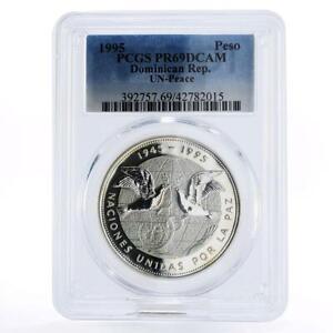 Dominican Republic 1 peso The United Nations PR69 PCGS silver coin 1995