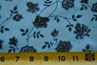 By 1/2 Yd, Brown & Blue Floral on Light-Blue Quilt Fabric/Marcus Brothers, N3867