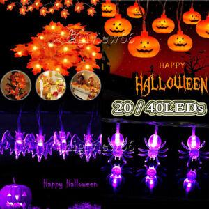 LED Halloween Spider Pumpkin Bat String Fairy Lights Battery Party Decor Prop UK