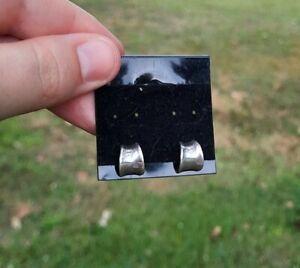 Vintage Sterling Silver Tapered Huggie Hoops Small Post Earrings Marked 925 Cute