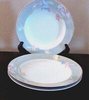 Mikasa Fine China Charisma Gray Rim Soup Bowls x3 Gray Rim Multicolor Flowers