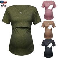 Women Pregnancy Solid V Neck Short Sleeve Tops Maternity Nusring Blouse T Shirt