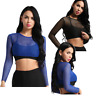 Women Fishnet Mesh Crop Tops Long Sleeve See Through T-shirt Blouse Tee Tank Top