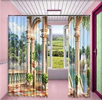 European Pavilion 3D Curtain Blockout Photo Printing Curtains Drape Fabric