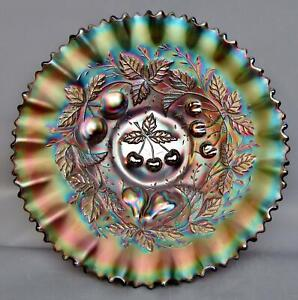 "C077 Northwood THREE FRUITS Amethyst Carnival Glass Pie Crust Edge 9"" Bowl"