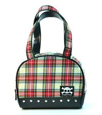 White Plaid Punk Handbag Goth Faux Leather Gothic Handbag Skull Patch Rock