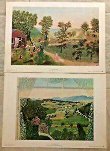 Pair Of Grandma Moses Art Prints Mary Had A Little Lamb & Hoosick From Window