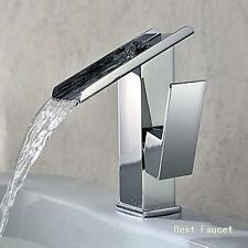 Modern Chrome Fountain Waterfall Bathroom Vanity Sink Faucet Toilet Mixer Tap AU
