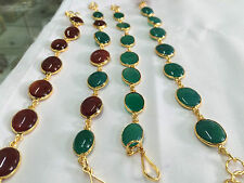 GREEN & RED AGATE STONE GOLD PLATED  LOT OF 4 DIFFERENT BRACELETS ADJUSTABLE