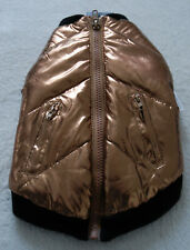 FAB DOG Copper Bronze Gold Padded Puff Bomber Jacket Dog Cloth Size S