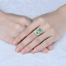 4.00Ct Colombian Emerald & Round Diamond Engagement Ring In 18k Yellow Gold Over