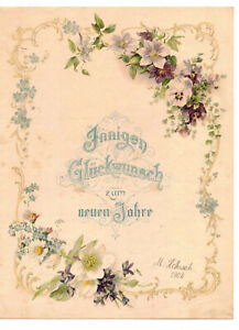 Litho Druck Schmuckbrief Glückwunsch um neuen Jahr 1902 (D8/2
