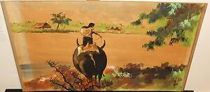 OLD 19TH CENTURY VIETNAM VILLAGE MULE WATERCOLOR LANDSCAPE PAINTING SIGNED #3