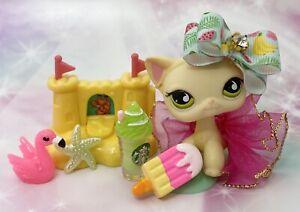 Authentic Littlest Pet Shop # 733 Cream Short Hair Cat Green Teardrop Eyes