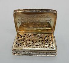 More details for nathaniel mills good sized solid silver engraved vinaigrette, birmingham 1840
