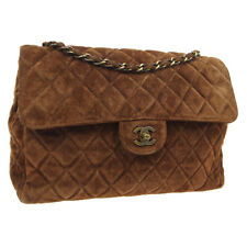 CHANEL Quilted CC Single Chain Shoulder Bag Purse Brown Suede 5041710 AK43737