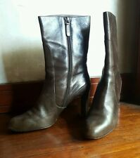 COLE HAAN WOMEN'S BROWN LEATHER HEEL BOOTS-Size 9.5