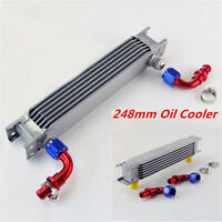 Aluminum 7 Row AN10 Engine Transmission 248mm Oil Cooler w/ Fittings Kit Silver