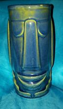 Vintage Libbey Tiki Hawaiian Polynesian Mug Glass Cocktail Tumbler Barware BLUE