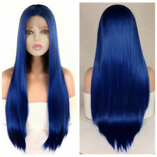 "24"" Women Lace Front Wig Heat Safe Fiber Hair Cosplay Long Straight Blue"