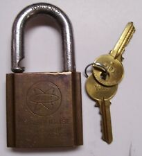 Vintage FEDTRO POWERHOUSE CYLINDER BRASS Lock / Padlock With 2 Keys 120Z.