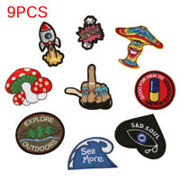 9PCS/Set DIY Embroidery Patches Sew On Iron On Badge Applique Bag Craft TraS gi