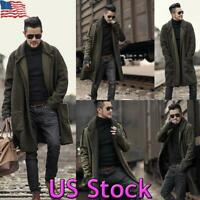 Mens Winter Warm Fur Lined Trench Coat Woolen Parka Overcoat Long Jacket Outwear
