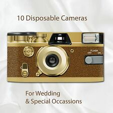 10 x Disposable Camera - Retro Golden Tan Wedding flash 27exp with table cards