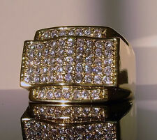 NEW! $120 MENS SIMULATED DIAMOND GOLD GP HIPHOP PINKY RING ICED CUSTOM BLING OUT